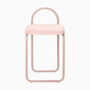 Silla de comedor minimalista de terciopelo rosa
