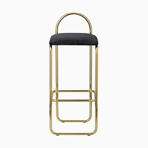 Anthracite Velvet and Gold Minimalist Bar Chair