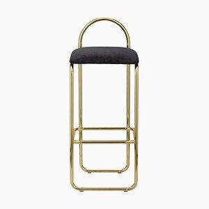 Anthrazitfarbener minimalistischer Bar- Stuhl aus Samt und Gold