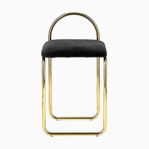 Anthracite Velvet and Gold Minimalist Dining Chair