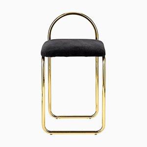 Anthrazitfarbener minimalistischer Stuhl aus Samt & Gold