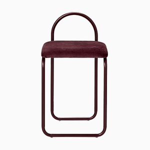 Bordeauxroter minimalistischer Esszimmerstuhl