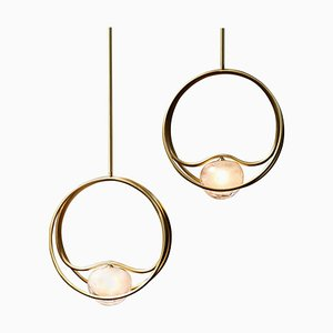 Brass Pulsar Singolo Chandeliers by Cristina Celestino, Set of 2
