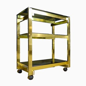 Hollywood Regency Brass Trolley with Smoked Glass Shelves