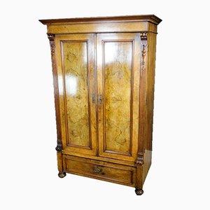 Antiker 2-türiger Schrank mit Spiegelglas & Furnier, 1880er
