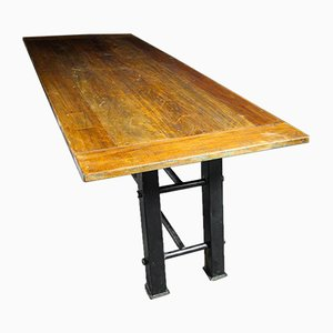 Industrial Table with Steel Frame and Teak Top