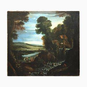 Matthijs Bril - Paisaje con figuras - Óleo sobre lienzo - 1570