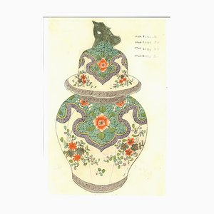 Porcelain Vases, Late 19th Century, Original Ink and Watercolor