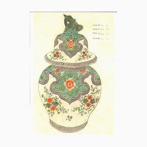 Vases en Porcelaine, Fin 19ème Siècle, Encre Originale et Aquarelle