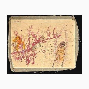 Sergio Barletta, Landscape With Figures, 1961, Original Ink and Watercolor