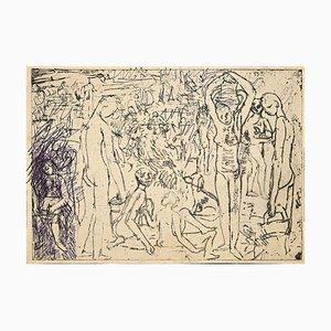 Etude de Figures, Gravure Originale, Moyen-20ème Siècle
