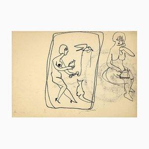 Mino Maccari, Wired Kommunikation, Original Kohlezeichnung, 1950er