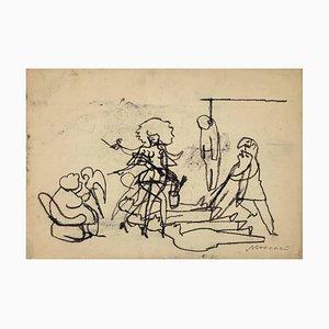 Mino Maccari, The Quarrel, Original Zeichnung, 1950er