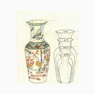 Jarrones de porcelana, tinta original y acuarela, siglo XIX