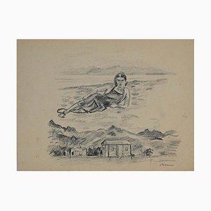 Mino Maccari, Figuren, Original Bleistiftzeichnung, Mitte 20. Jahrhundert