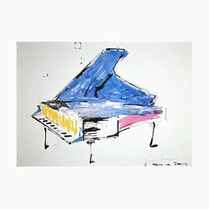 Lithographie Originale, Giuseppe Chiari, Fluxus Piano, Fin XXe Siècle