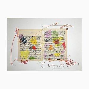 Lithographie Originale de Giuseppe Chiari, Fluxus Music, Fin 20ème Siècle