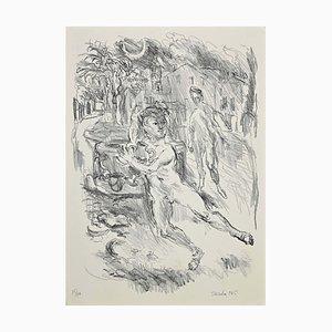 Antonio Scordia, Die Flucht, Original Lithographie, 1945
