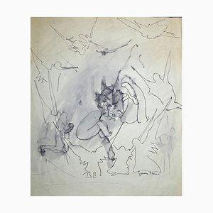 Gemma D'Amico, Nativity Scene, Original Ink and Watercolor, C. 1950