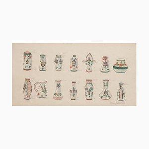 Vases en Porcelaine, Encre Originale, Fin 19ème Siècle