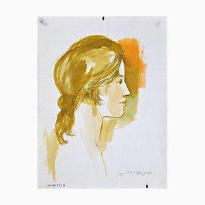Leo Guida, perfil femenino, tinta original y acuarela, 1970