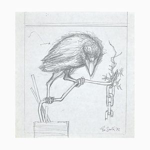 Leo Guida, The Crow, Original Pencil Drawing, 1972