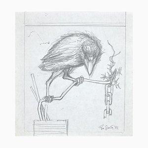 Leo Guida, The Crow, Original Pencil Drawing, 1972