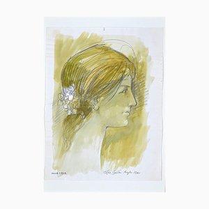 Leo Guida, Profil Féminin, Encre Originale et Aquarelle, 1972