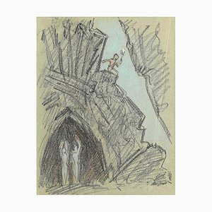 The Descent Into the Cave, Original Pencil and Pastel Drawing, 20th Century