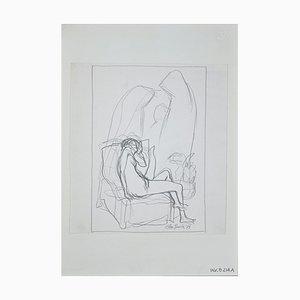 Leo Guida, Liegender Akt, 1972er Originale Bleistiftzeichnung