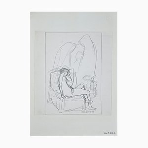 Leo Guida, Lying Nude, Original Pencil Drawing, 1972