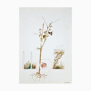 The Tree, Dessin à l'Encre et Aquarelle, 1970s