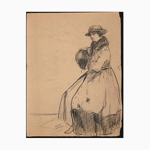 Jean Bernard, Figure of A Woman, Original Pencil Drawing, C. 1910