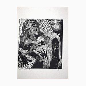 Litografia originale di Mario Benedetti, Fantastic Nature 3, 1965