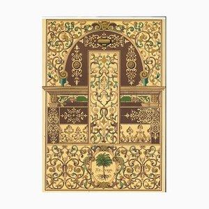 Motivos decorativos, renacentista alemán, litografía original, principios del siglo XX