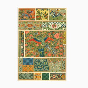 Motivos decorativos, renacimiento chino, litografía original, principios del siglo XX