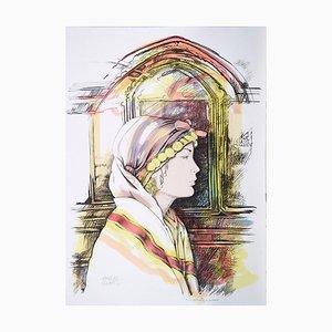 Andrea Quarto - Oriental Woman's Profile - Hand-Colored Lithograph - 1980s