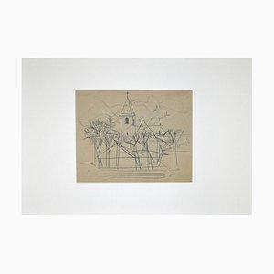 Unknown - Französische Kirche - Bleistiftzeichnung - 1950er