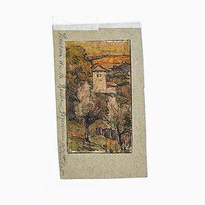 Desconocido - Souvenir De La Roche - Tinta china y acuarela - Siglo XIX