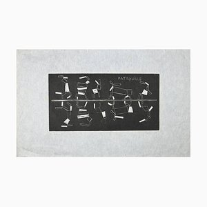 Michel Seuphor - Patrouille - Woodcut - 1969