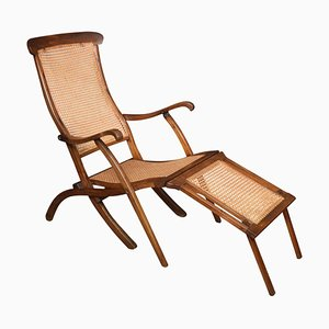 Walnut Framed Folding Steamer Deck Chair