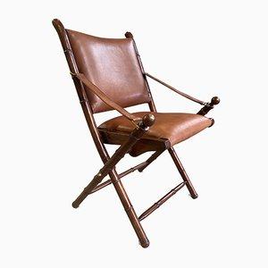 Chaise de Campagne Pliante Vintage en Acajou, Laiton et Cuir