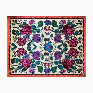 Vintage Romanian Handmade Floral Wool Carpet