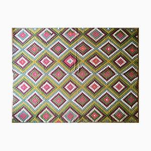 Tapis ou Couvre-Couette Vintage en Laine Colorée Tissée à la Main sur Coton Géométrique