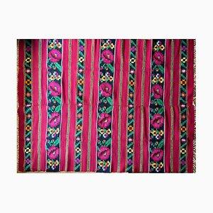 Vintage Romanian Handmade Pink Colorful Wool Rug