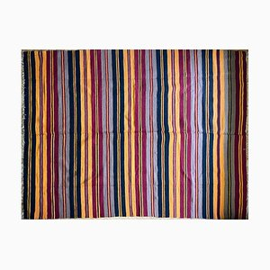 Vintage Romanian Handmade Wool Carpet with Stripes