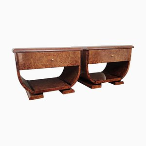 Art Deco Style Italian Walnut Burl and Brass Nightstands, Set of 2