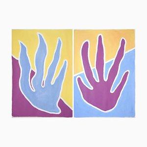 Pintura tropical de dúo de algas vistosas, púrpura, amarillo, díptico, 2021