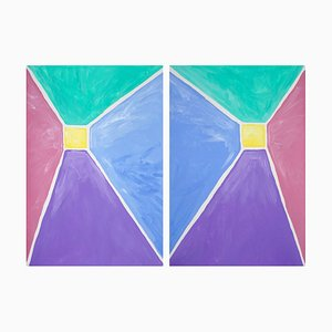 Pastel Tones, Pyramid Diptych, Acrylic Painting on Paper, 2021