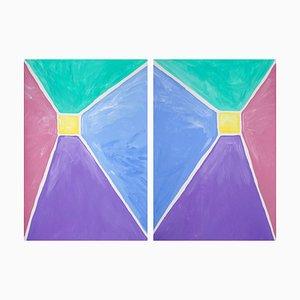 Pastelltöne, Pyramid Diptychon, Acrylmalerei auf Papier, 2021